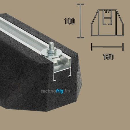 Klíma kültéri egység rezgéscsillapító tartótalp,(extrudált gumi) beágyazott alkuprofillal